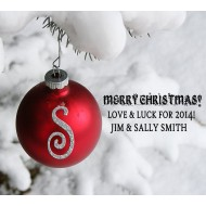 Custom Label - Red Ornament - pack of 12